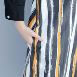 Women Cotton Single Breasted Long Shirt Vertical stripe Blouse Polo Coat Black