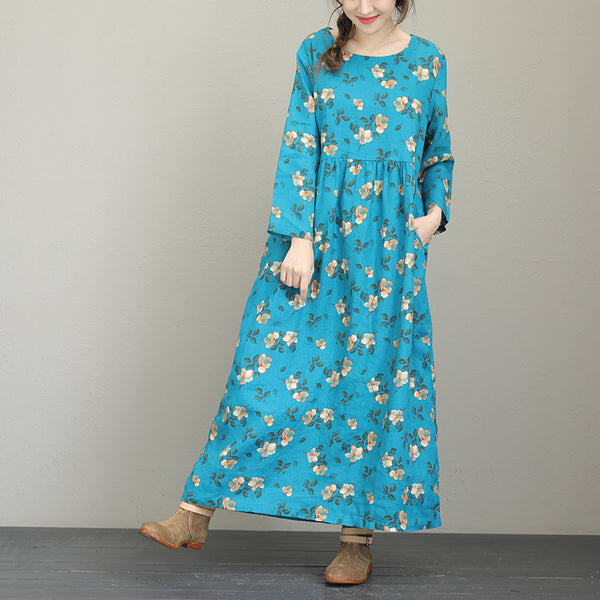 Loose Woman Ramie Flower Printing Long Sleeve Pleat Long Dress