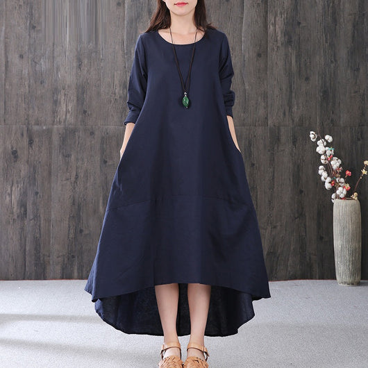 Women Cotton Linen Irregular Splice Button Dress Long Sleeve Maxi Dress Navy