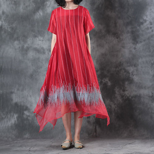 Women Silk Linen Vertical Stripe Pullover Embroidery Irregular Dress Red