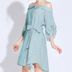 Women Cotton Off Shoulder A Line Slim fit Dress Vertical Stripe Pullover