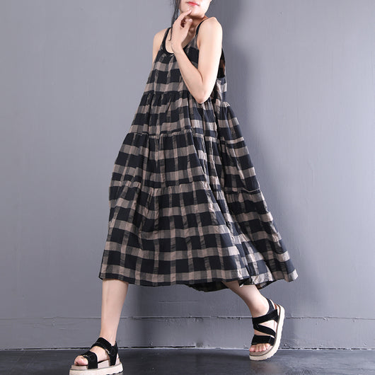 Women Casual Loose Cotton Plaid Pleats Splice Dress Artistic A Line Sleeveless Dress