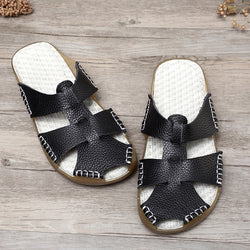 Woman Casual Handmade Genuine Leather Shoes Slip-on Sandals