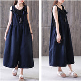 Women Cotton Strapes Pleated Jumpsuit Ninth Loose Pant Thin Stripes