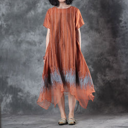 Women Silk Linen Vertical Stripe Pullover Embroidery Irregular Dress Orange