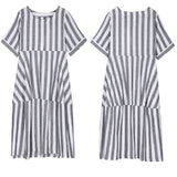 Women Casual Loose Round Neck Pleated Stripe Dress Cotton Linen Splice Pullover
