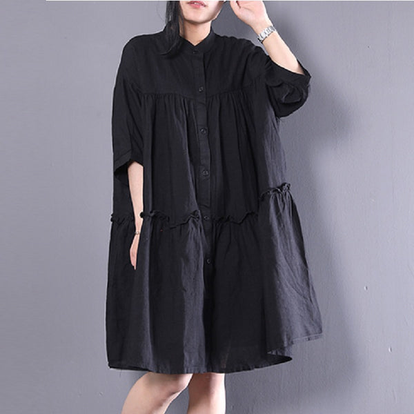 Women Linen Stand Collar Polo Dress Pleated Ruffled Button Long Shirt Black