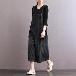 Loose Pant Cotton Vertical Stripes Pocket Cropped Trousers Jumpsuit