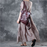 Woman Retro Silk Linen Short Sleeve Natual Drapes Irregular Bottom Beige Dress