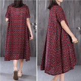 Women Cotton Linen Stand Collar Button Shirt Dress Pleats Grid Dress