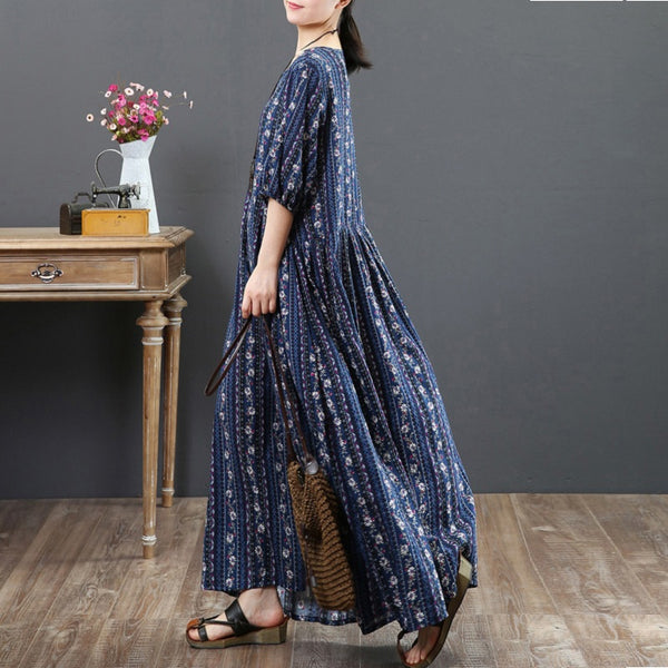 Women Casual Cotton Linen Floral Print Dress Pleated Maxi Dress Navy