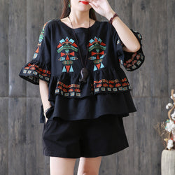 Women Cotton Linen Mandarin Sleeve Shirt Embroidery Ruffle Blouse Black