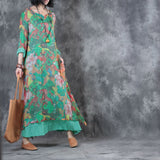 Woman Retro Loose Silk Long Sleeve Printing Dress