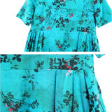 Women Casual Floral Print Pleats Dress Round Neck Pullover A Line