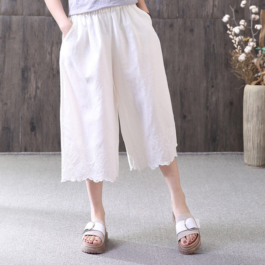 Women Casual Loose Pants Embroidery Pockets Cropped Trousers White