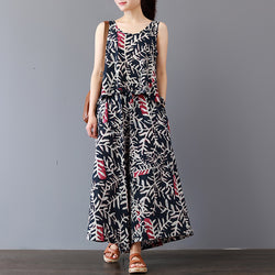 Women Cotton Two-Piece Suit Sleeveless Tops Full Length Loose Pant