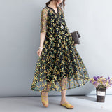 Women Loose Chiffon Two-Piece-Dress Transparent Floral Embroidery Dress