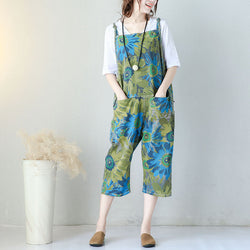 Woman Loose Casual Thin Cotton Print Jumpsuit Harem Pants Pockets