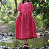 Lace up Ramie Dress Red