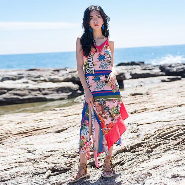 Women Print Irregular Beach Skirt Bohemian Summer Dress Slim Sundress