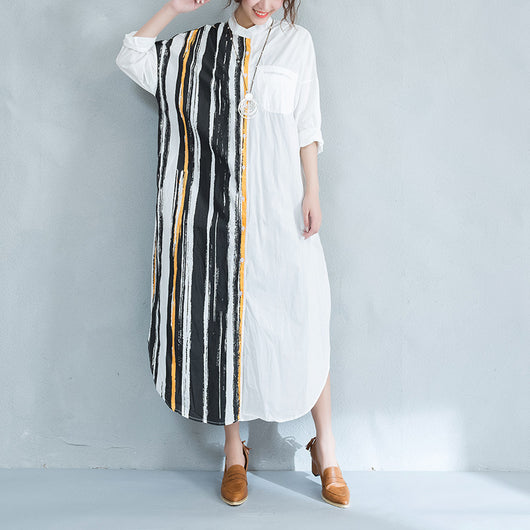 Women Cotton Single Breasted Long Shirt Vertical stripe Blouse Polo Coat