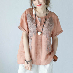 Women Summer Ramie V Neck Shirt Short Sleeve Loose Ribbon Flower Blouse