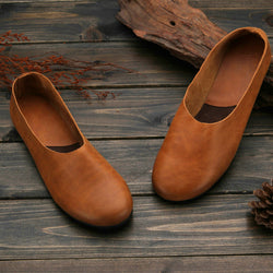 Woman Casual Vintage handmade Genuine Leather Pigskin Shoes Round Toe