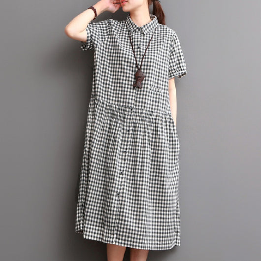 11b2fb8a13777 Women Casual Loose Cotton Grid Turn Down collar Single Breasted Shirt Dress