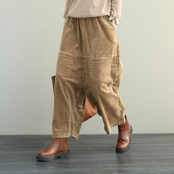 Woman Casual Loose Elastic Waist Wide Wale Corduroy Plus Size Haren Pants