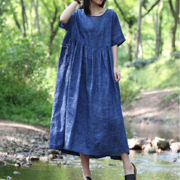 Women Casual Loose Pleated String Lace Up Dress Ramie Maxi Dress Blue