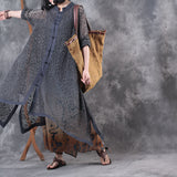 Woman Casual Cotton Collar Cardigan Cloth Button Retro Loose Spring Gown Dress