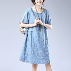 Plait Cotton Linen Summer Dress