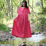 Women Casual Loose Pleated String Lace Up Dress Ramie Maxi Dress Red