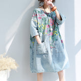Woman Loose Casual Denim Flower Printed Dress Three Quarter Sleeve