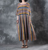 Women Casual Loose Retro Ramie Stripes Pleats Summer Dress Semi-Transparent