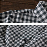 Women Casual Loose Cotton Grid Turn Down collar Single Breasted Shirt Dress