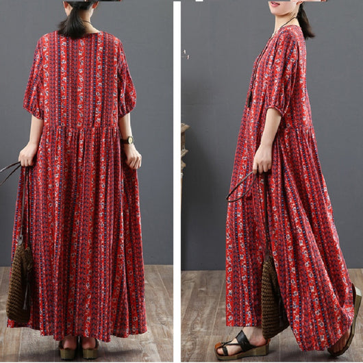 18531ed60a Women Casual Cotton Linen Floral Print Dress Pleated Maxi Dress Red ...