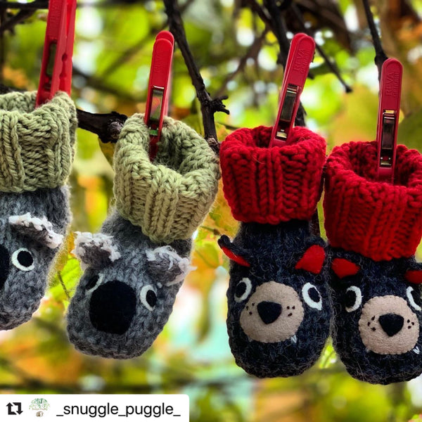Tasmanian devil, wombat & koala booties (made to order)