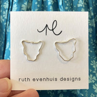 Silver Tasmania map stud earrings by Ruth Evenhuis