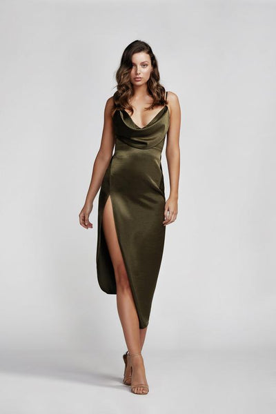 Lexi Carmen Dress - Olive Green