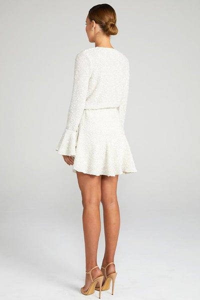 Shona Joy Aimee Frill Cuff Drawstring Mini Dress - Cream