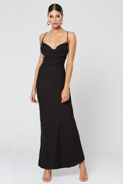 Winona Fortune Cowl Neck Maxi Dress - Black