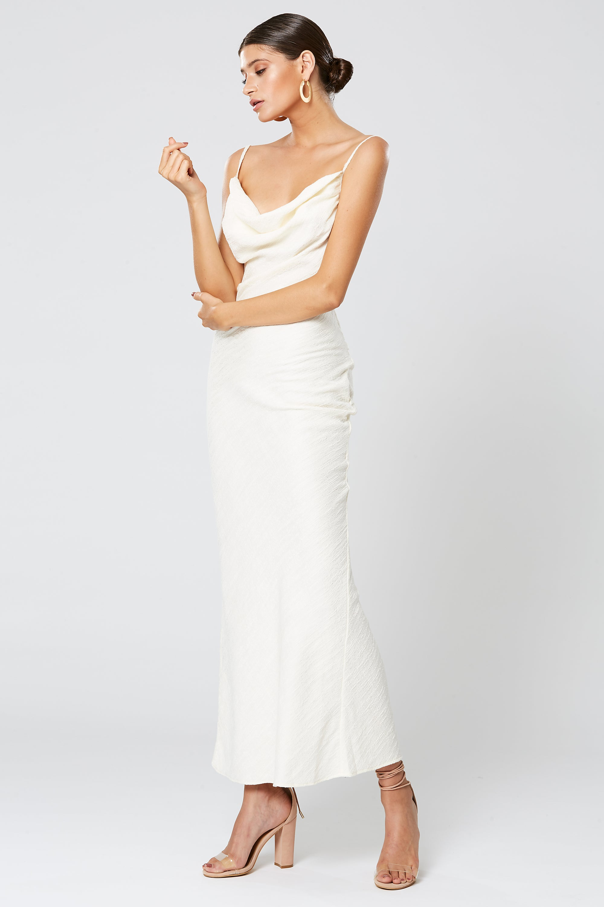 0bd19c85cc5 Winona Fortune Cowl Neck Maxi Dress - Ivory - Dress Hire AU