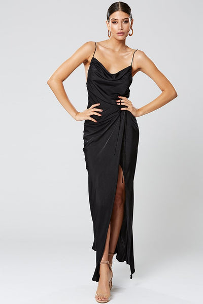 Winona Zetian Cowl Neck Maxi Dress - Black