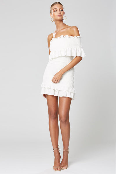 Winona Moxie Shirring Dress - White