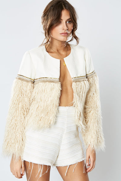 Winona Duchess Crop Jacket - Latte
