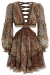 Zimmermann Tali Batik Cut Out Dress - Spliced Print