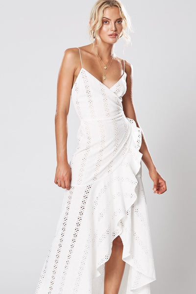 Winona Dharma Wrap Maxi Dress - White