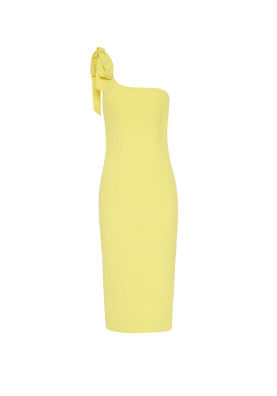 By Johnny Lean Shoulder Midi Dress - Citrus Yellow