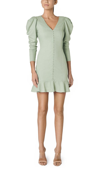 Santina-Nicole Sole Linen Button Dress - Sage